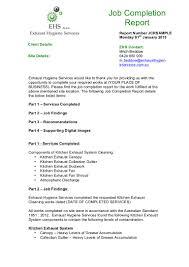 Sample Job Completion Report 2015