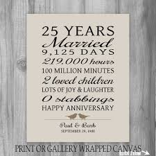 25 year anniversary gift 25th anniversary art print personalized anniversary gift for pas anniversary gift for wife funny gift