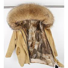 winter natural rabbit fur lining jacket coat women parka fur coat corduroy real rac fur collar