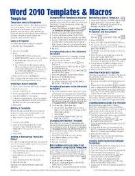 Microsoft Word Study Guide Template Microsoft Word 2010 Templates Macros Quick Reference Guide