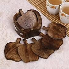 set of 6 apple shaped wooden drink coasters gift set 29826 coasters
