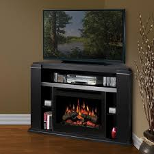 masterful wooden tv cabinet plus corner electric fireplace for living space ideas