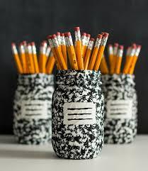 Mason Jar Projects Desk Organizer Idea Composition Book Mason Jar Mason Jar Crafts