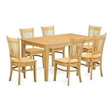 east west furniture dining set east west furniture oak w 7 piece dining table and 6