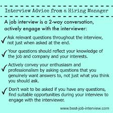 Interview Advice Engage The Interviewer Job Search Job