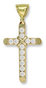 large 9ct gold and cz cross pendant