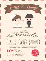 Invitation Card Sample Wedding Invitation Card Template With Cute Groom And Bride Cartoon
