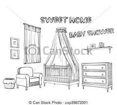 Disegni Room Mano S Disegnato Bambini Mobilia Disegni Set