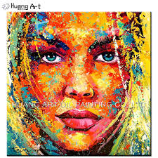 skill artist hand painted abstract colorful girl face figure oil painting for living room wall painting