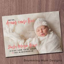 Boy Or Girl Baby Announcement Modern Birth Announcement Dream Come True Birth