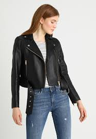 georgie biker leather jacket black