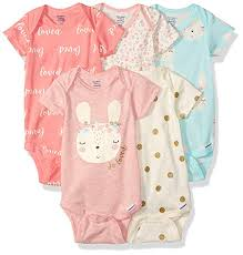 Gerber Baby Girls 5 Pack Organic Short Sleeve Onesies Bodysuits