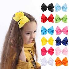 "5"" Baby Hair <b>Bows Graffiti Ribbon</b> Party Handmade Hairgrips Kids ..."