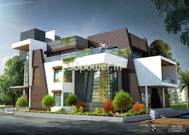 Modern Bungalow Design Rendering House Indian Style Plan