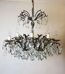 c1900 12 arm aged brass crystal chandelier rewired