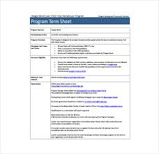 program sheet template 13 term sheet template free word pdf documents download free