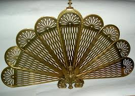Vintage Brass Gargoyle Fan Fireplace Screen Griffin Peacock ...