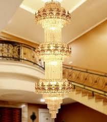 luxury modern led crystal ceiling light gold pendant lamp lobby chandelier