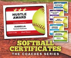 Editable Softball Certificates Award Templates That Are A
