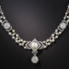 belle epoque diamond and natural pearl