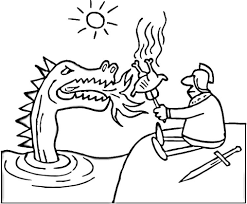 Small Picture Brave Knight Grills the Chicken on Dragon Fire coloring page