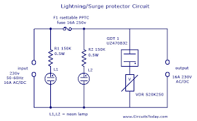 lightning surge protector circuit using gas discharge tube gdt lightning protector circuit