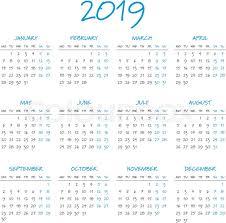 Simple 2019 Year Calendar Week Starts Stock Vector