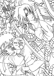 Small Picture vs Sasuke anime coloring pages for kids printable free