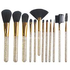 luxury acrylic crystal make up cosmetics brush set 12pcs clear handle good quality bling makeup brush best fan brush makeup brushes sets synthetic