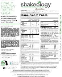 vanilla shakeology nutrition facts