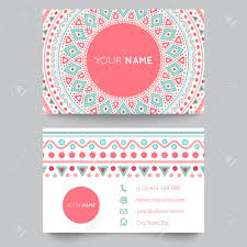 Business Card Template Blue White And Pink Beauty Fashion Pattern