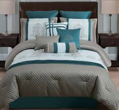 Taupe Bedroom Dark Teal Comforter Sets 10 Piece Queen Avalon Taupe Teal Ivory