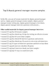 Sample General Manager Resume Top 8 Deputy General Manager Resume Samples