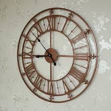 large copper painted skeleton wall clock shabby vintage chic gift garden outdoor