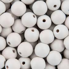 wooden beads round 10mm white no 229