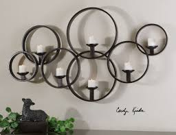 modern black iron linking circle wall candleholder candle sconce candle wall decor
