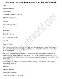 How To Write A Warning Letter To An Employee Warning Letter To Employees Refusing To Work Hr Letter Formats