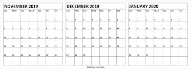 November December 2019 January 2020 Calendar Excel To Print Pdf