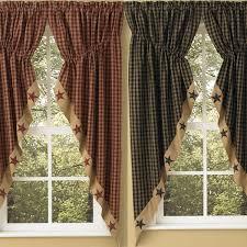 Park Designs Curtains And Valances Sturbridge Star Patch Gathered Swags Prairie Curtains Park Designs