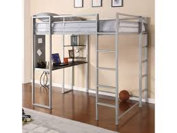 silver metal loft bed w desk underneath for