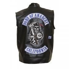 sons of anarchy leather vest with patches