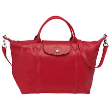 top handles longchamp le pliage cuir top handle m donna cherry