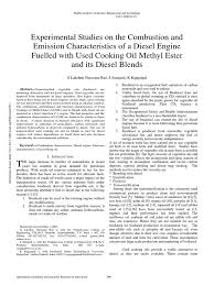 Experimental Studies on the Combustion and Emission Characteristics of a  Diesel Engine Fuelled with Used Cooking Oil Methyl Ester and its Diesel  Blends | Biodiesel | Exhaust Gas
