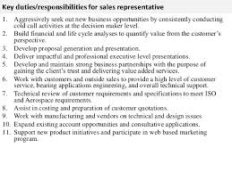 Key duties responsibilities for sales representative b2b sales  representative job description