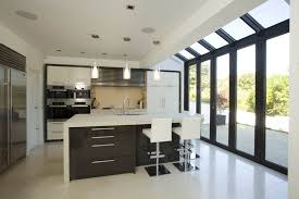 Home Interiors:Modern Glass Extension In The Kitchen Room Design Ideas  Kitchen Room With Brown