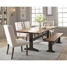 Scott Living Burnham Rustic Live Edge Dining Table Set With Bench