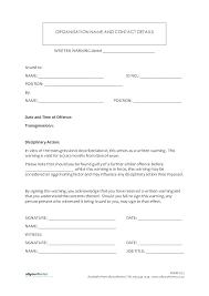 Disciplinary Written Warning Template Free Employee Verbal