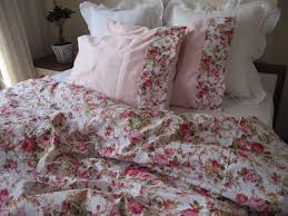 shabby chic bedding red green pink rose