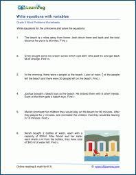 equations word problem worksheets