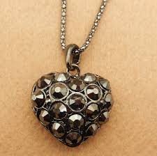 details about women s black crystal heart charm pendant sweater necklace